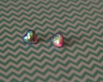 Mermaid scales love heart silver plated stud earrings
