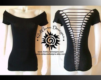 RAZOR BACK - Junior/Womens Cut up, Shredded Top great for Festival Wear, Yoga Wear, or anytime fun wear