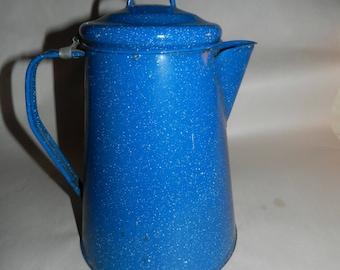 Blue Enamel Coffee Pot - Vintage Blue Enamelware Coffee / Tea Pot speckled w/ white - Rustic + primitive Farm or Country Kitchen Decor DB-01