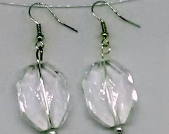 Clear Faceted Octagon with Silvertone Accent Earrings