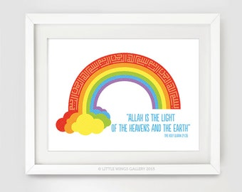 Rainbow Islamic Art Print, Allah is the Light, Modern Islamic Wall Art