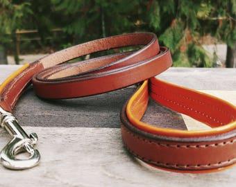 Leash- Chestnut Brown with Orange Vinyl