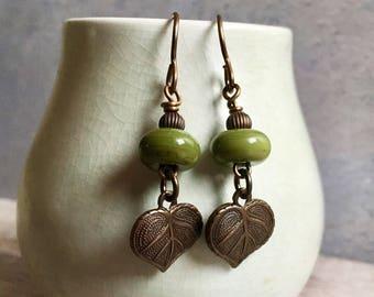 leaf charm earrings, green handmade earrings,artisan lampwork earrings, uk