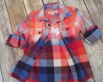 Dip Dyed Ombre Flannel Shirt SIZE 4T