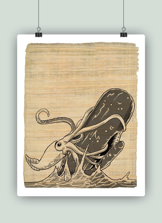Kraken vs Sperm Whale Nautical Fantasy Art Octopus Poster
