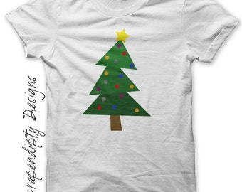 Christmas Tree Iron on Shirt PDF - Christmas Iron on Transfer / Christmas Shirt / Fabric Transfer / Infant Boys Clothes / DIY Tshirt IT138