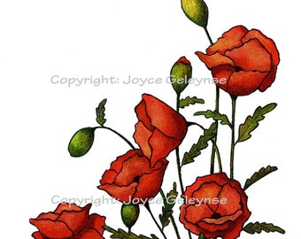 Clip Art, Red Poppies, Flowers: Freehand Drawing, Commercial Use, Print Yourself, Instant Download