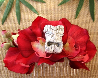 Tropical Flower, Tiki Flower, Red Orchid,Tropical Hair Clip, Pinup Hair Clip - Red Orchid Tiki Hair Comb