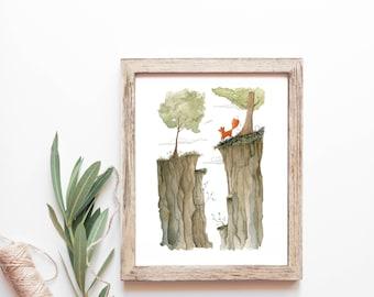 Divided - Unframed FINE ART PRINT, Watercolour, Watercolor, Nature, cabin, cottage, Love, fox, woodland, Wall Decor, Home Decor, Moose