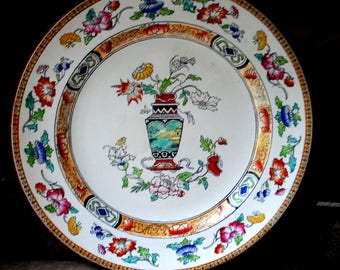 Antique 1879s,  white porcelain , round plate with a multicolor ,hand painted , asian style  pattern. Made by Brownfield and Son.