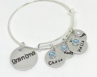Grandmother birthstone jewelry mothers day, Personalized grandma jewelry, Grandmother bracelet birthstones, Personalized grandmother jewelry