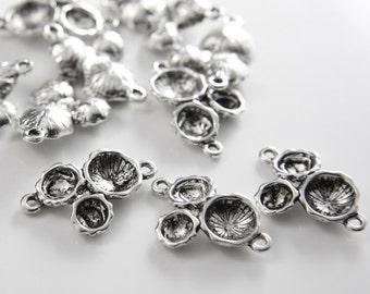 10pcs Oxidized Silver Tone Base Metal Fancy Links-25x18mm (26439Y-H-13A)