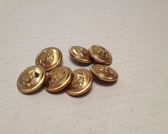 7 Gold Tone Vintage Anchor Embossed 3/4 Inch  Shank Buttons