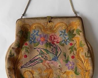 Vintage Parrot Bird Theme Petit Point Purse Handbag