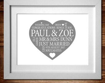 Wedding Heart Word Art Personalised Print* A4, A3 or Digital PDF