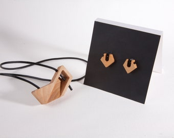 Contemporary geometric chevron necklace and earring set  | wooden jewelry