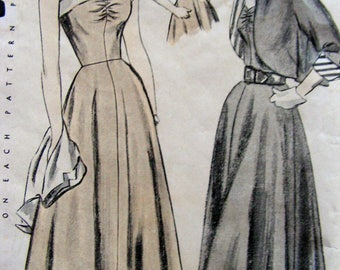 1940's Sun Back Dress and Bolero | Misses Size 16 Bust 34 | Simplicity 2817 | cut used complete vintage 1949 sewing pattern