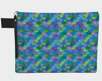 Multicolor Mermaid Scales Zippered Carry-All Pouch