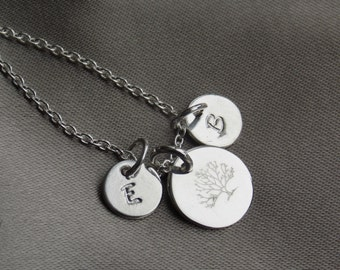 Family Tree, Tree Of Life Necklace, Tree Of Life Pendant Charm Jewelry, Gift Women, For Her, For Mom, Personalize Initial Necklace Stampsink