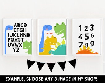 CHOOSE ANY 3, Set of 3, Childrens Number Poster, Alphabet Print, 1-10, Counting, Number Print, Kids Room, Counting Poster, dinosaurs, ABC