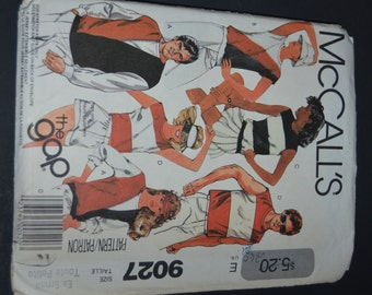 McCalls 9027 Misses and Mens Tops Sewing Pattern - UNCUT - Size Extra Small (Bust 77-80cm)