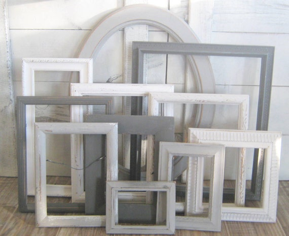 Farmhouse PICTURE FRAMES   Nursery Decor   Shades Of Gray   Shabby    Distressed   Picture Frame Set ~ Gallery Wall Set   Vintage Ornate