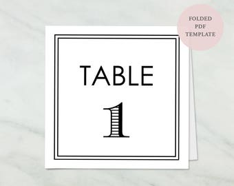 Classic Border Table Number - Folded Card - Instant Download - Double Border Table Number Set - Wedding Banquet Table - 4x4 inches - #GD3201