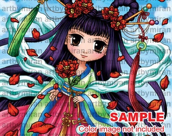 Digital Stamp -Asian Beauty(#342), Digi Stamp, Coloring page, Printable Line art for Card and Craft Supply