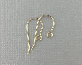18k Ear Wire, Solid Gold Ear Wire, Gold Earwire, Hypoallergenic Ear Wire, Hypo-Allergenic Earwire, Solid 18 Karat Gold