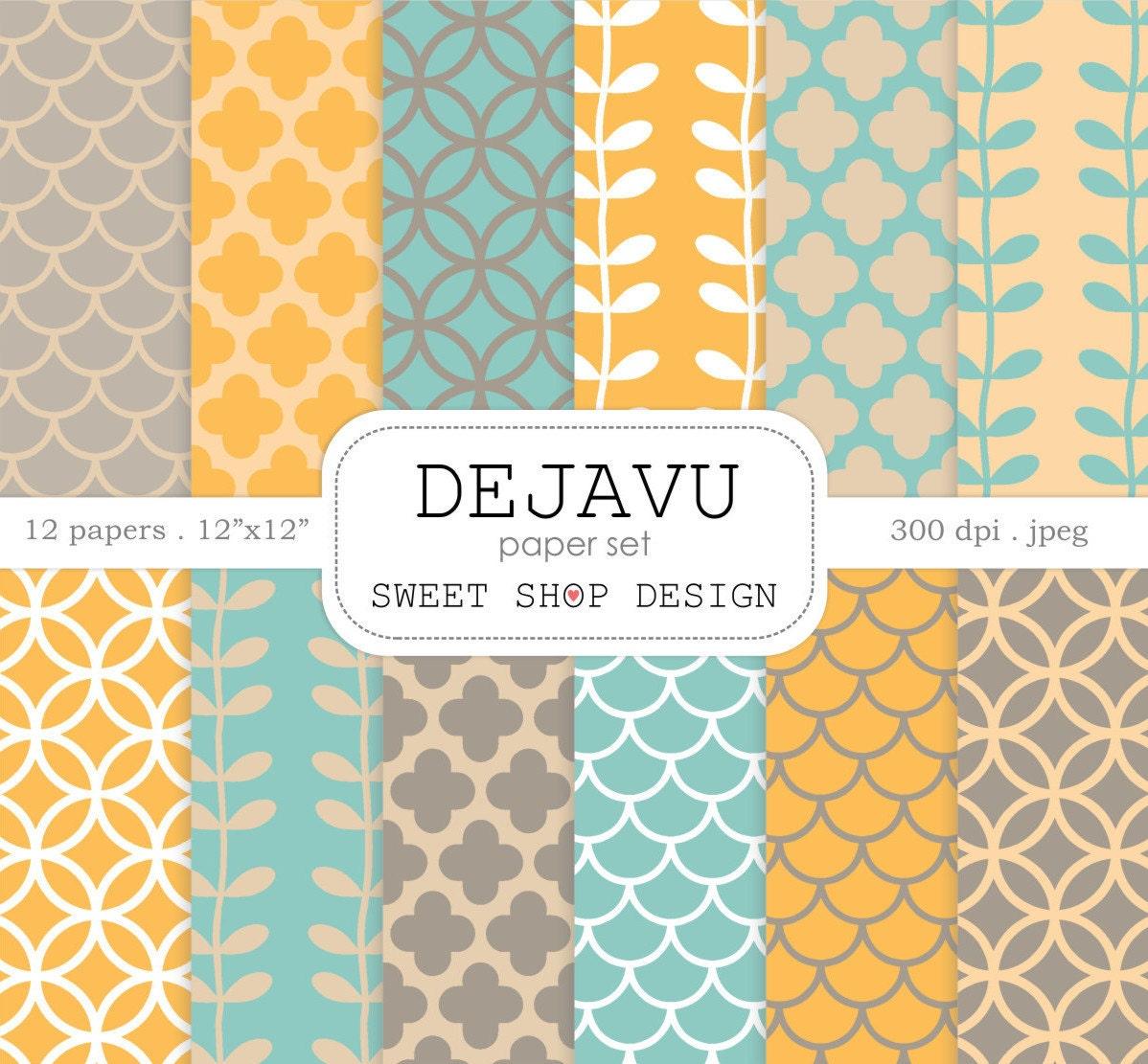 Digital Paper DEJAVU Printable Scrapbook Pack 12x12
