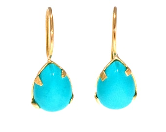 Turquoise Earrings, 14K Drop Earrings, 14K Pear Earrings, Handmade Jewelry, December Birthstone, Turquoise Jewelry, 14K Gold Earrings,