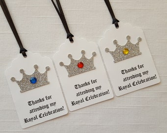 Silver Crown Medieval Knight Birthday Party Favor Tags: Thanks for attending my Royal Celebration!, Set of 12, Prince/King Thank You Tag