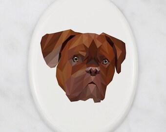 A ceramic tombstone plaque with a French Mastiff dog. Art-Dog geometric dog