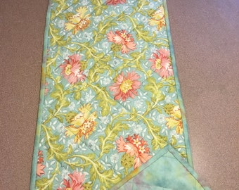 Table Runner - Quilted Cotton Reversible Runner - Shades of Pink and Golden Green on Seafoam Background Reverses to Batik of Same Colors