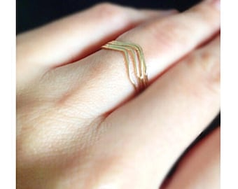 Chevron Ring, Midi Ring, Mountain Ring, Gold Ring, Silver Ring, Rose Gold Ring, Knuckle Ring, Stacked Ring, Set of 4