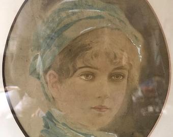 1920's Art Deco female portrait oil painting framed