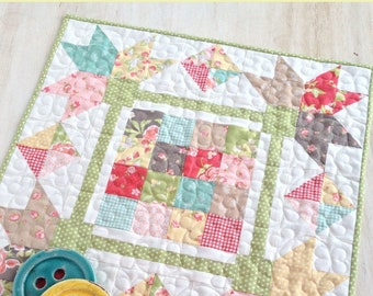 Picking Petals Quilted Table Topper Pattern - Table Quilt Pattern - Charm Pack Friendly - Carried Away Quilting CAQ 003