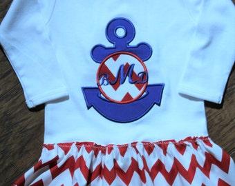 Nautical dress, baby girls,baby girl dress, anchor, red, white, blue, monogram, monogram shirt, beach dress, spring, baby girl clothes