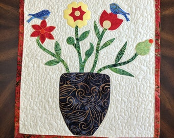"HANDMADE 21"" x 17.5"" Wall Hanging Appliqued and Quilted, Flowers, Birds"