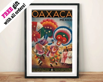 OAXACA MEXICO POSTER: Vintage Mexican Travel Advert, Art Print Wall Hanging
