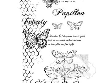 Gabi's Butterflies Are Free Stamp Set....Card making, Scrapbooking, Tags, Mixed Media