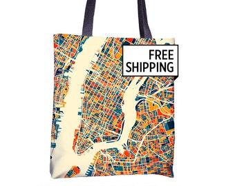 New York City Map Tote Bag - New York Map Tote Bag 15x15