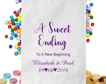 24  Personalized A Sweet Ending New Beginning Thank You Candy Table Treat Bags Wedding Favor Bags Candy Buffet