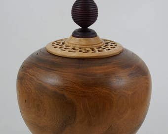 Wood turned vessel, hand turned Vessel, Mesquite wood vessel, one of a kind, hollow form, art piece