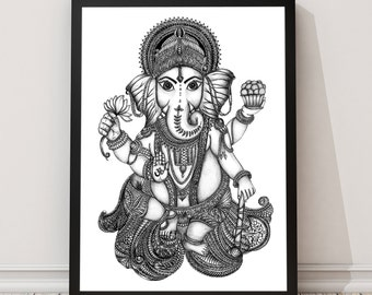 Lord Ganesh Print // Wall Art // Art Print