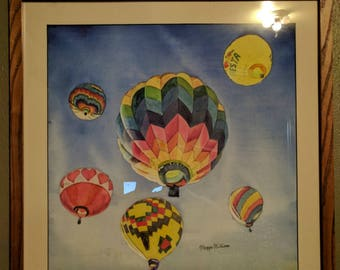 Framed Original Hot Air Balloons Watercolor Painting. Balloon painting. Romantic decor. Pink Hearts painting. Balloon race picture.