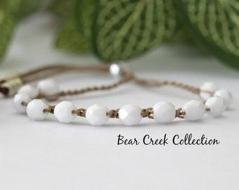 White Adjustable Bracelet, Stacking Bead Bracelet, Boho Style, Bohemian, Crochet Jewelry, Bead and Cord Jewelry