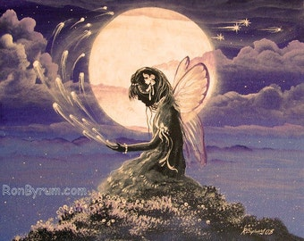 "Fairy Sending Blessings Moon Full Moon Folk Art PRINT ""Blessings Sent"" Byrum"