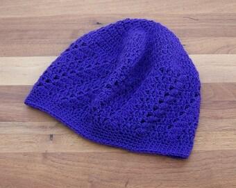 Lace Boho Beanie - Crochet - Kufi Hat - Skull Cap - Deep Purple