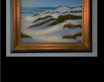 Framed, Beach and Sand Dunes, original oil painting by artist Pamela Platt 15.5 x 19.5""